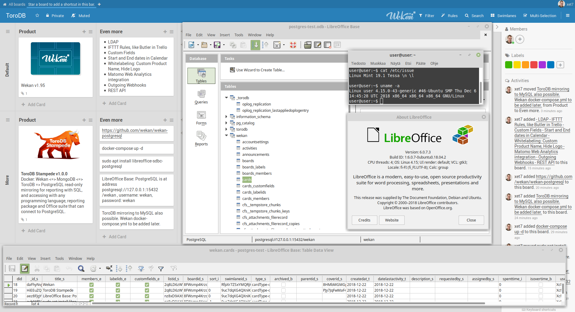 Screenshot of PostgreSQL with LibreOffice