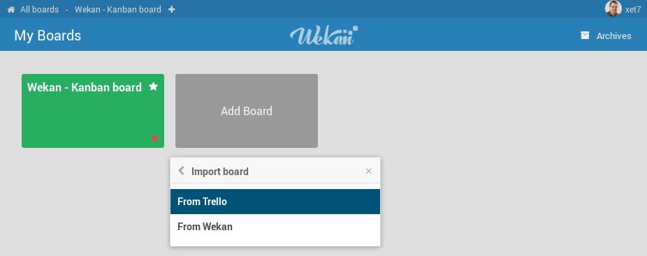 Screenshot - Wekan Import